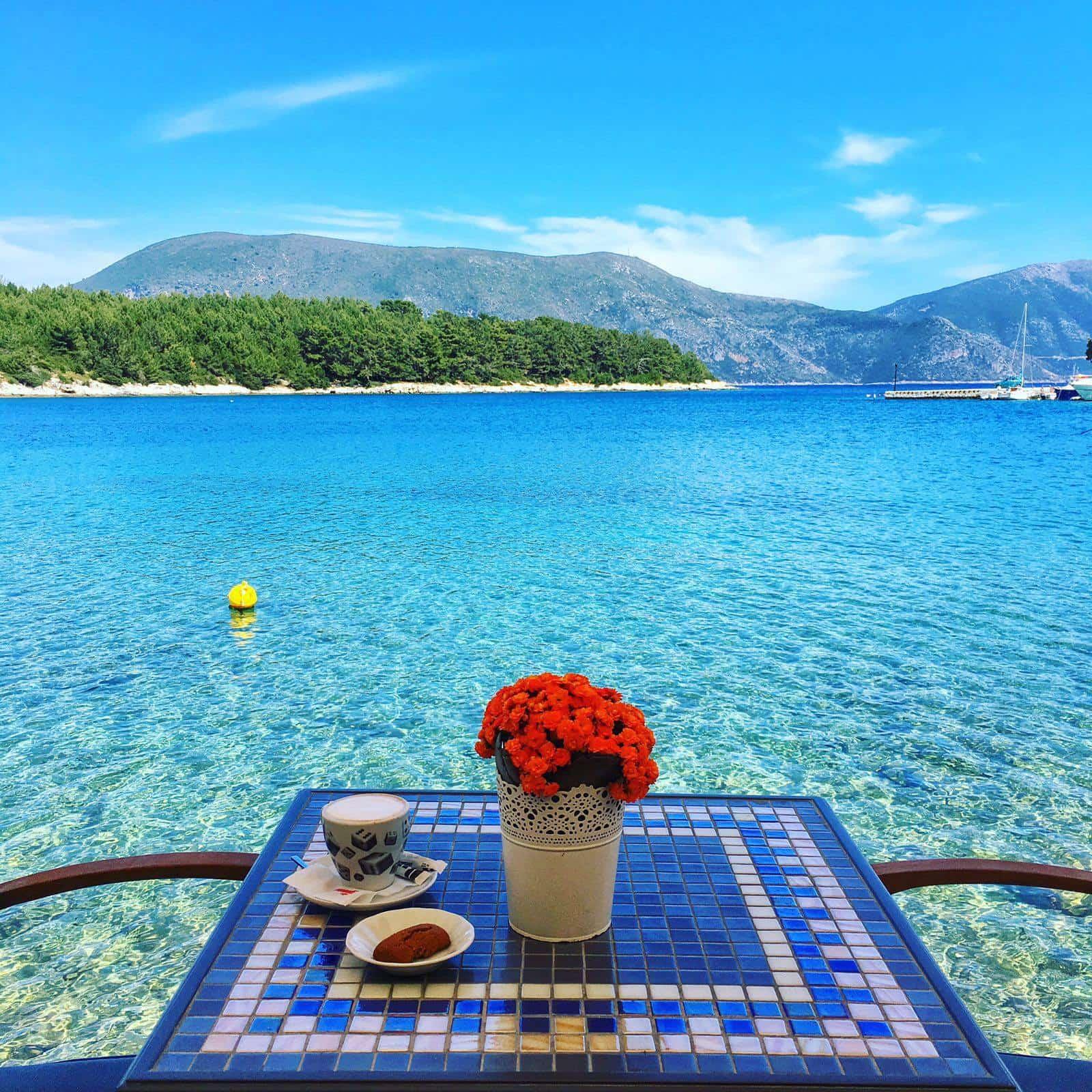 cafe en paisaje griego