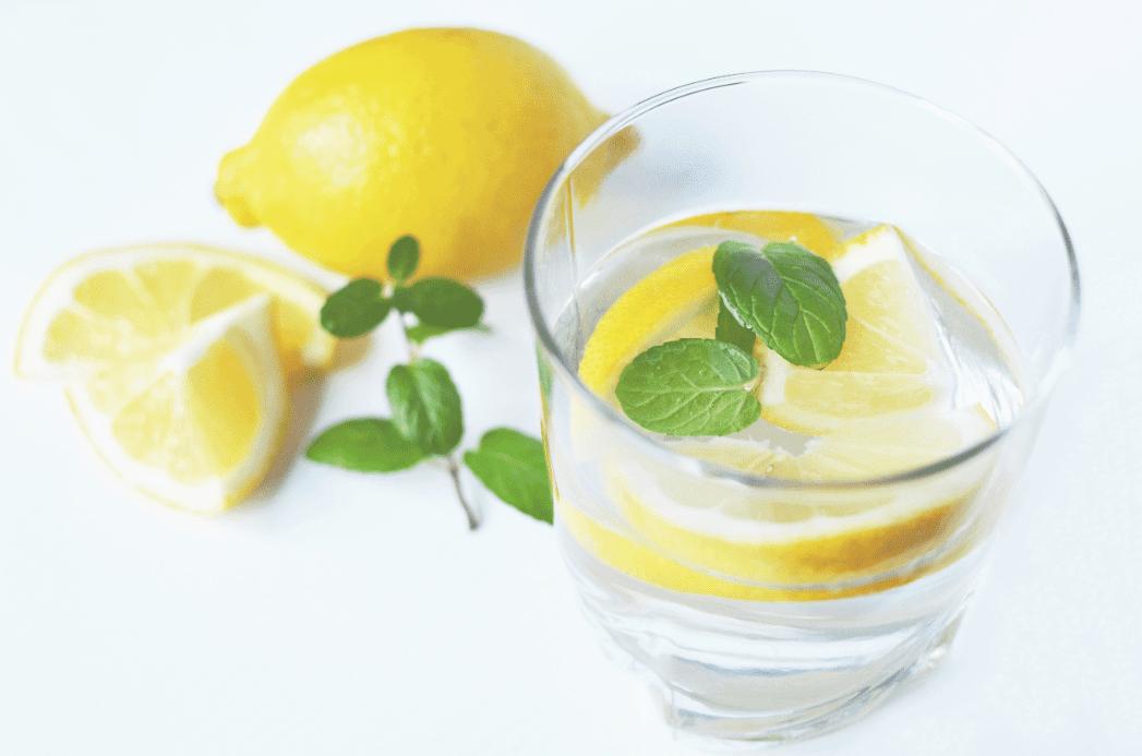 Fresh lemon water and mint