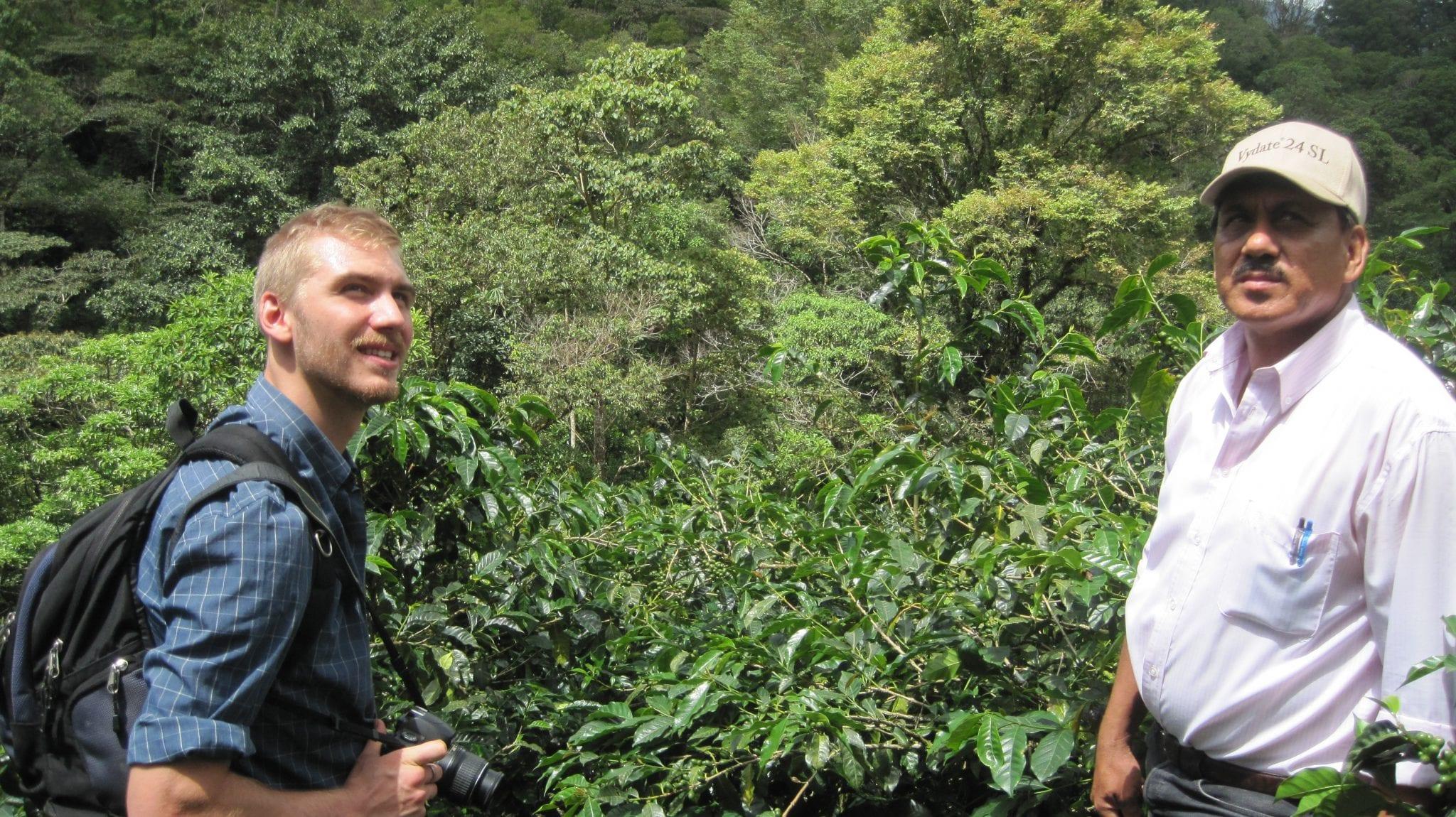 Two men in a coffee field in Nicaragua