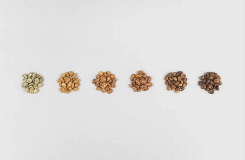 different stages of roasting coffee beans