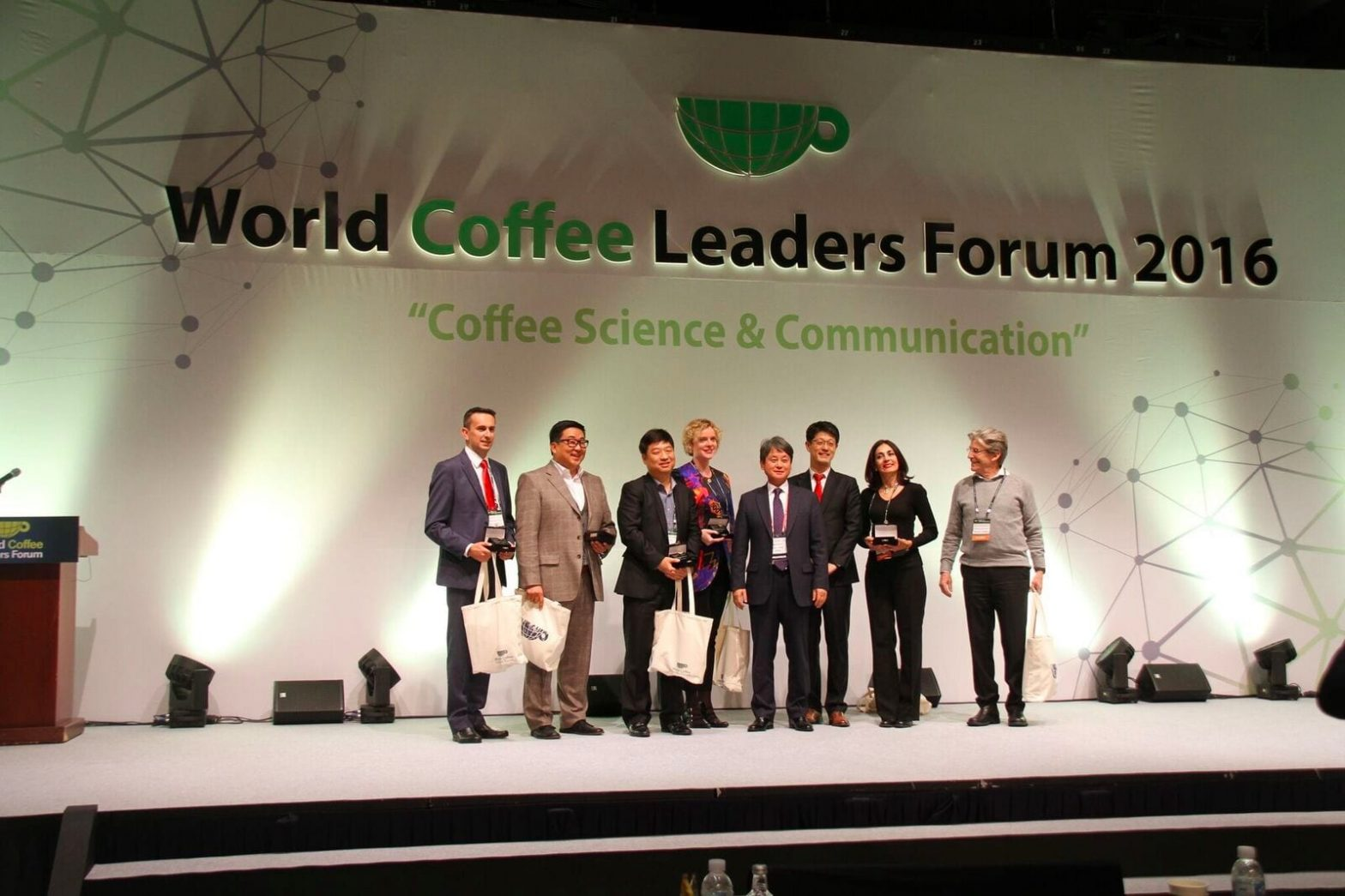 World Coffee Leaders Forum 2016 plenary discussion speakers on stage