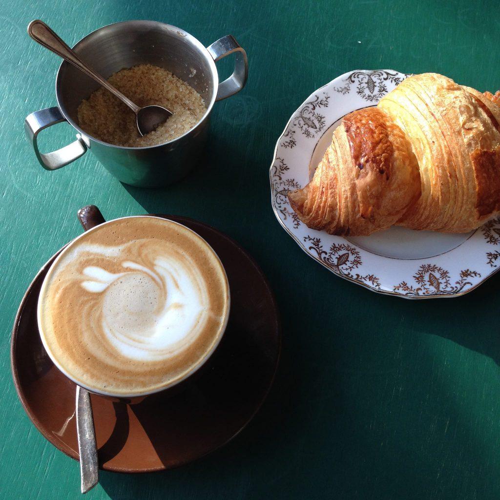 latte with croissant