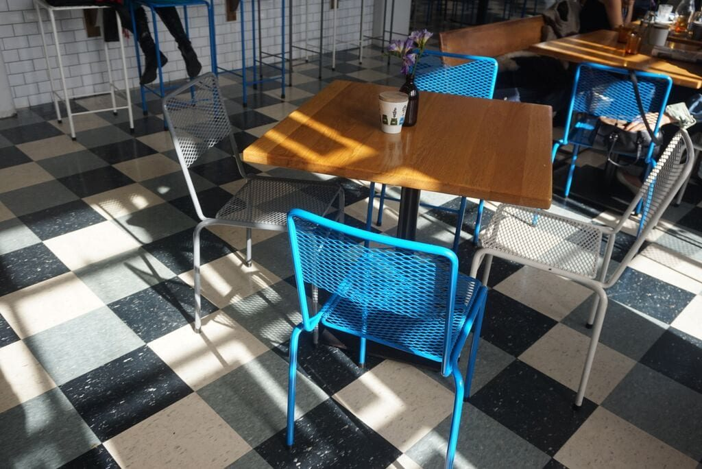 Combinacion de colores en la decoracion del coffee shop