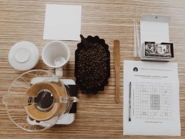 todo los elemento para preparar un buen cafe en un chemex