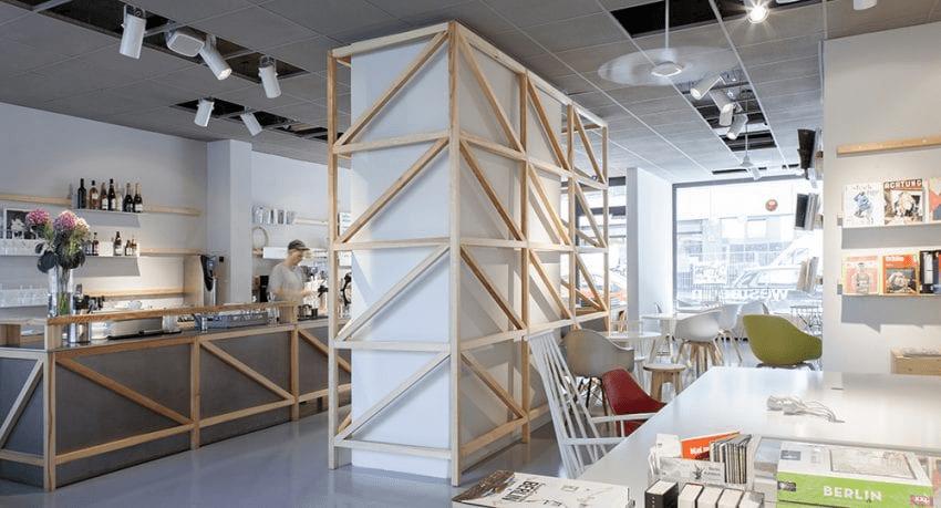 un hermoso diseño de una tienda de cafe