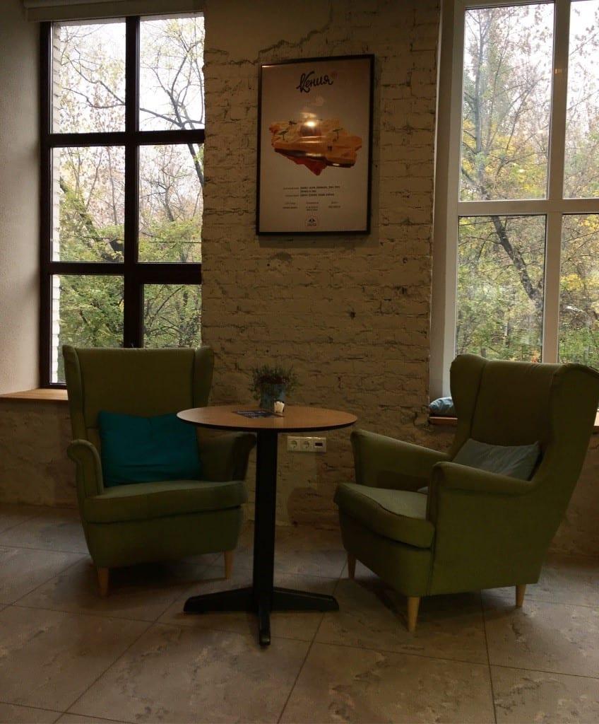 Una sala para tomar cafe