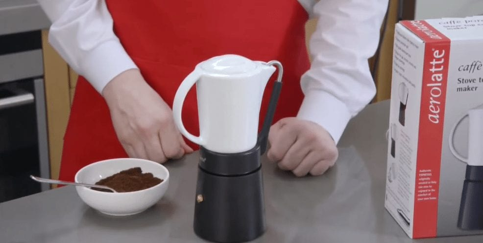 porcellana aerolatte moka pot