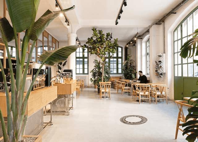el bello interior de una tienda de cafe