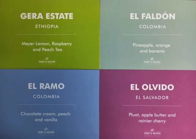 Tarjetas de los cafes de origen unico