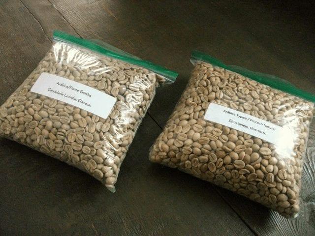 muestra de granos verdes
