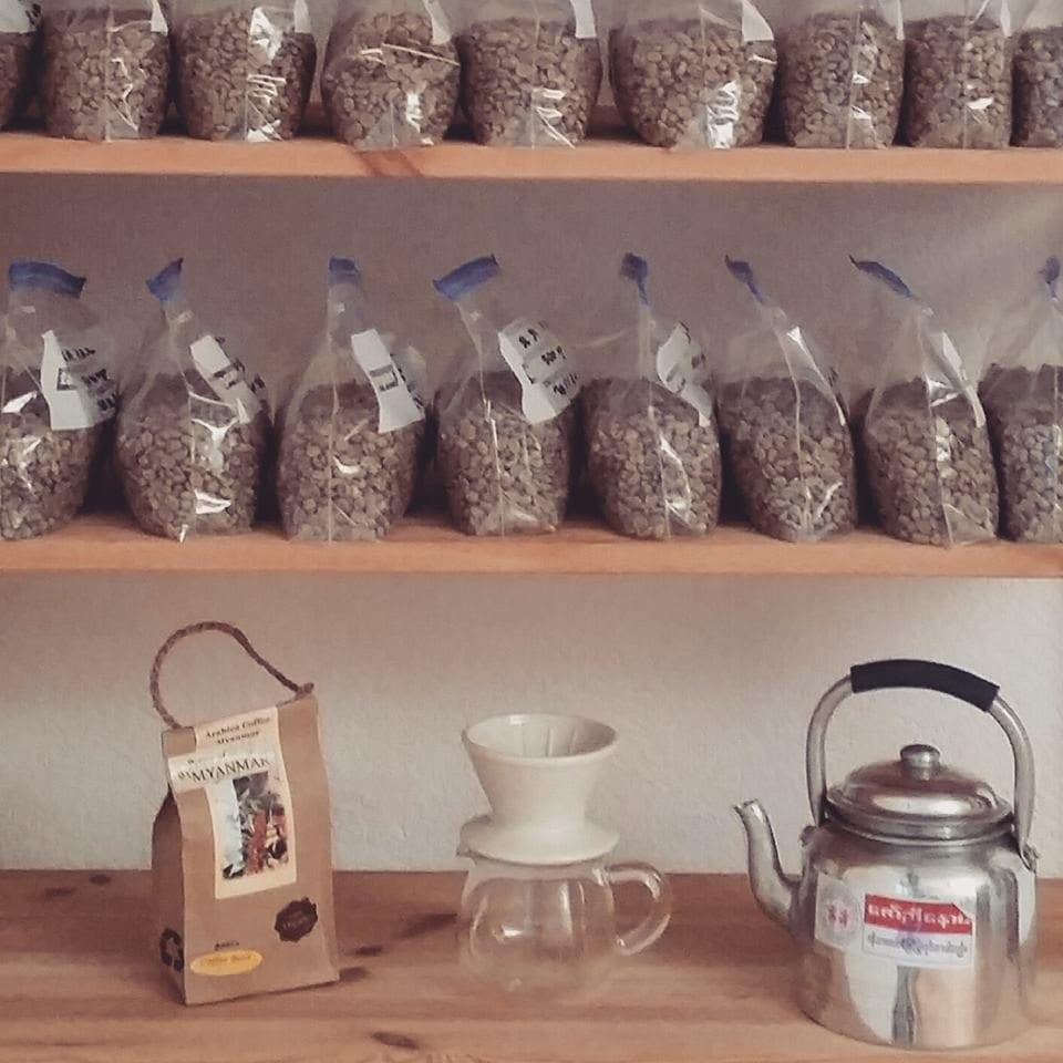 Specialty coffee on a shop shelf in Myanmar