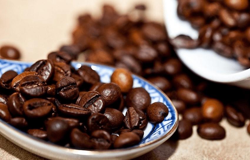 granos de cafe con tueste oscuro