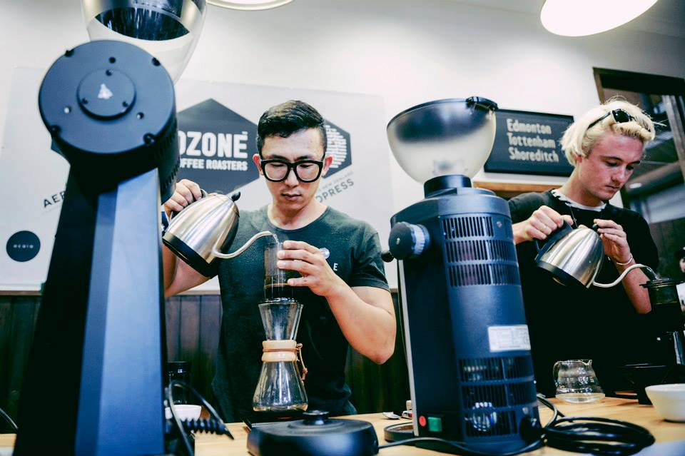 Baristas making chemex filter coffees