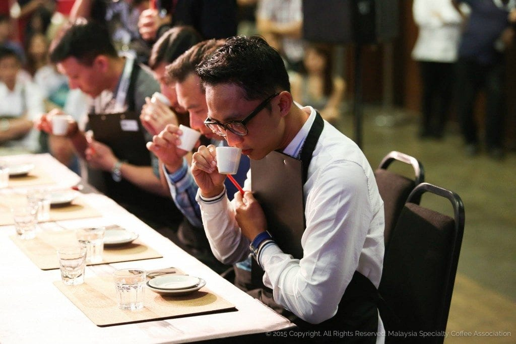 Judging at the 2015 Malaysia Barista Championship. Credit: Malaysia Specialty Coffee Association