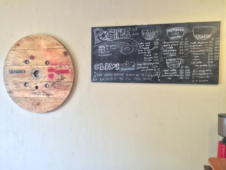 The menu at La Fábrica cafe