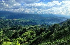 The view from the mountains in the town of Salento, Colombia