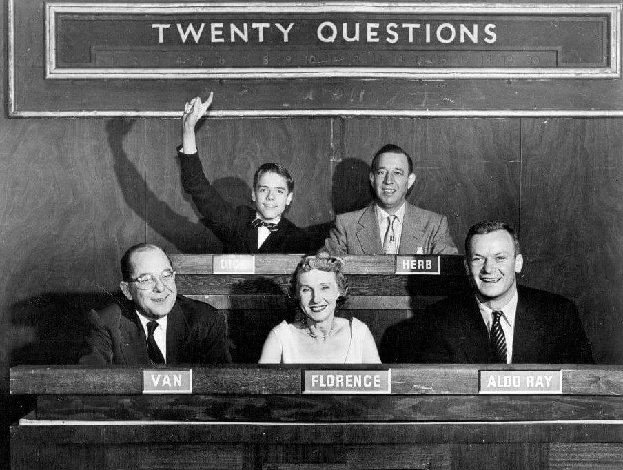 Twenty questions show, 5 people smiling