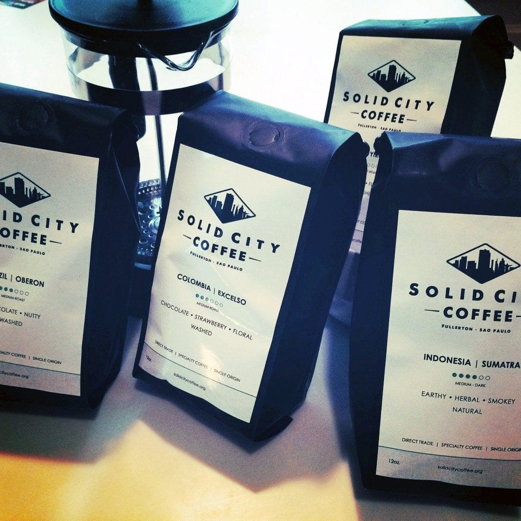 Coffee bags of Solid City Coffee, Sao Paulo.