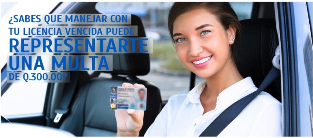 A photo released by MAYCOM, the licensing agency of Guatemala, informing drivers that driving with an expired license can end in a fine