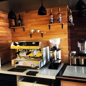 """A close up of the Fracino """"DualFuel"""" with grinder than runs on gas and electricity. - Perfect Daily Grind Specialty Coffee Blog"""