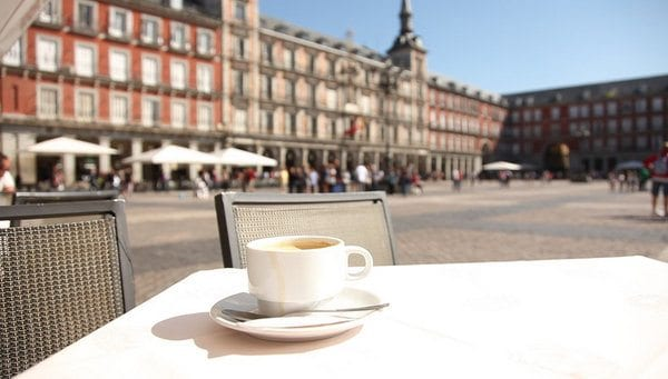 Coffee in Plaza Mayor, one of Madrid's most famous historic places