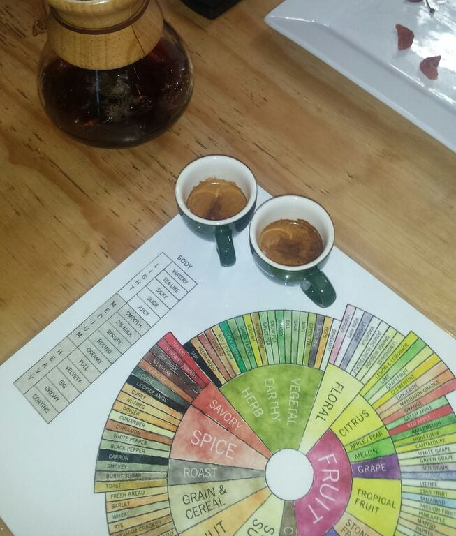 coffee tasting with the help of the coffee flavour wheel