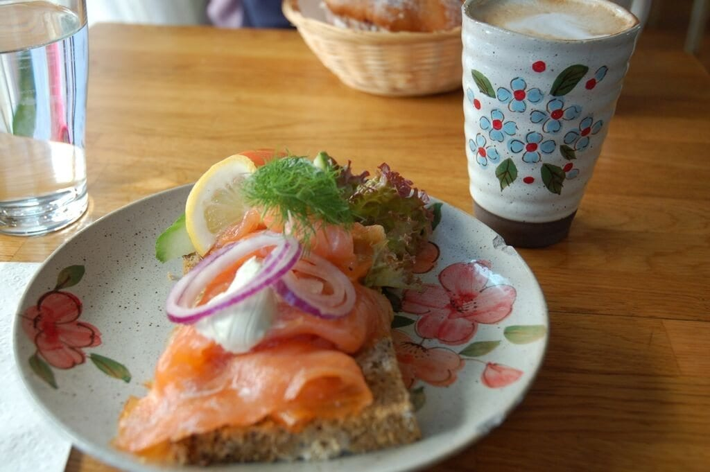 Fika with an open sandwich.