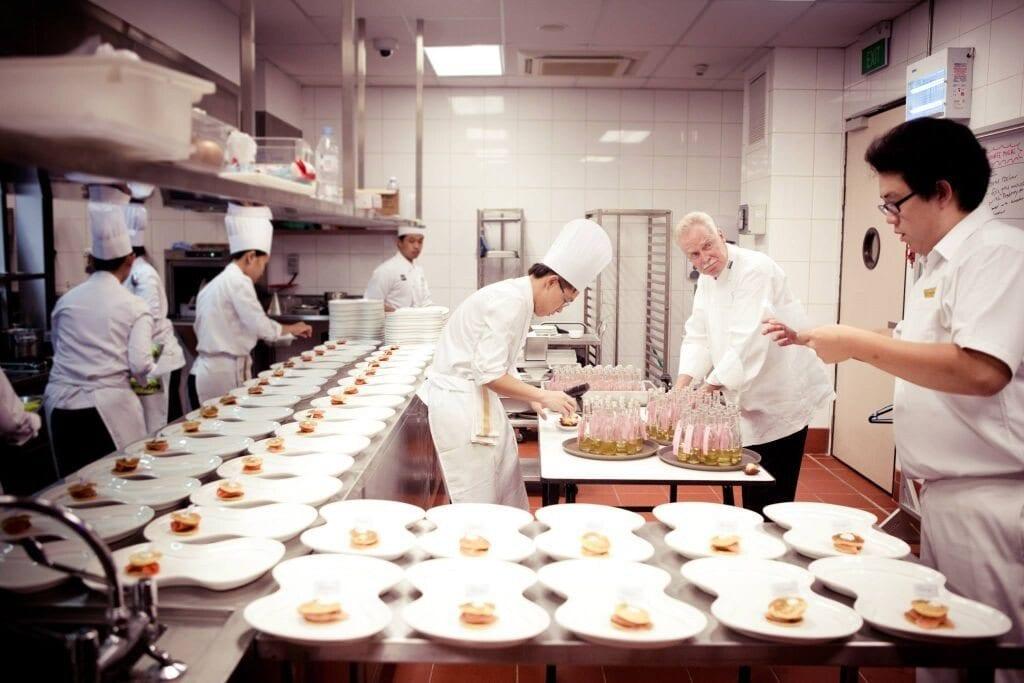 preparation in the kitchen of a restaurant