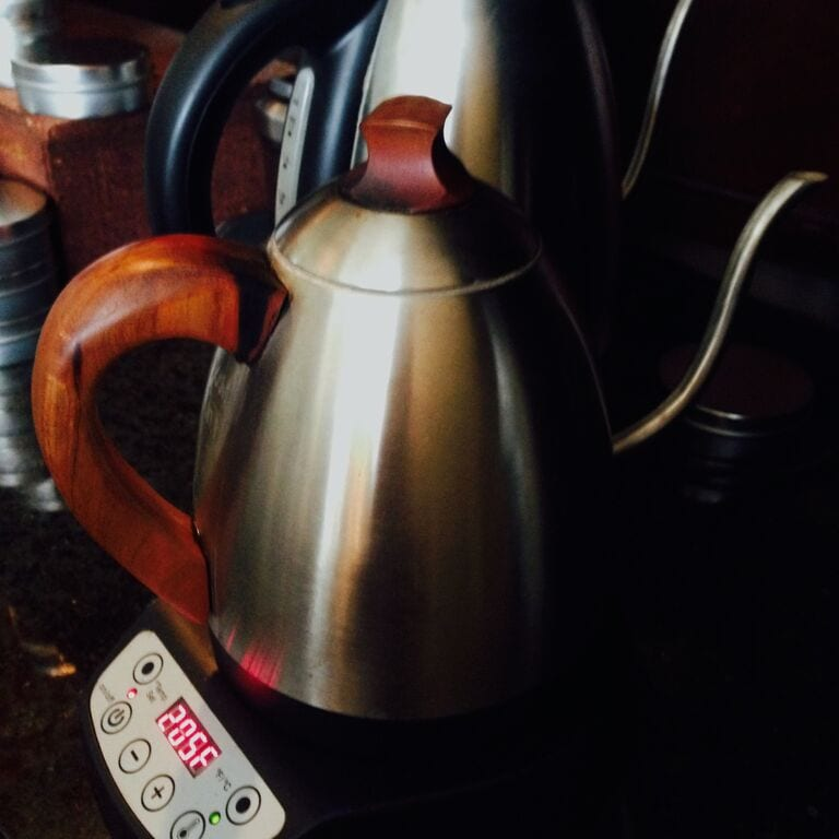 kettle with wooden handle