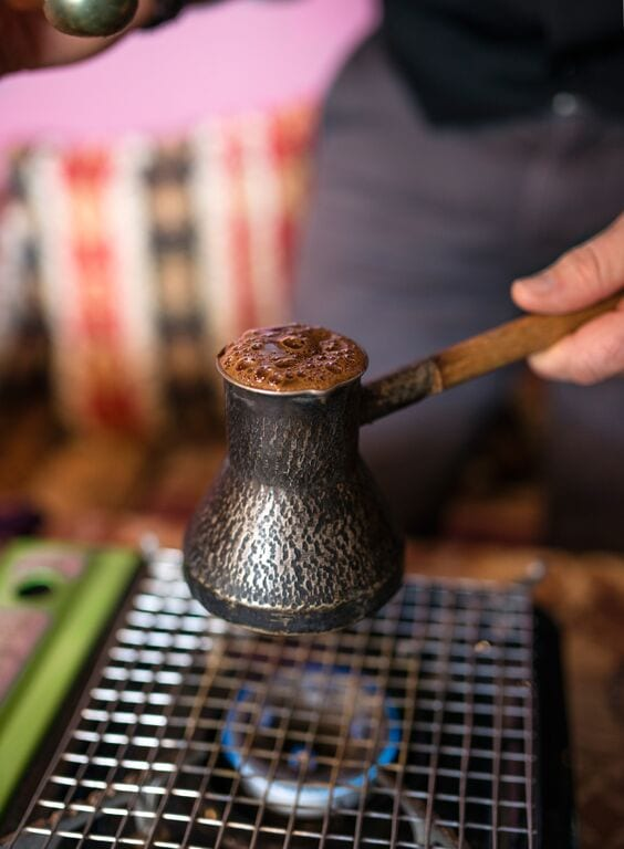 Preparing Turkish coffee