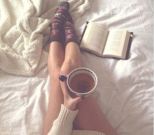 tea in bed with book