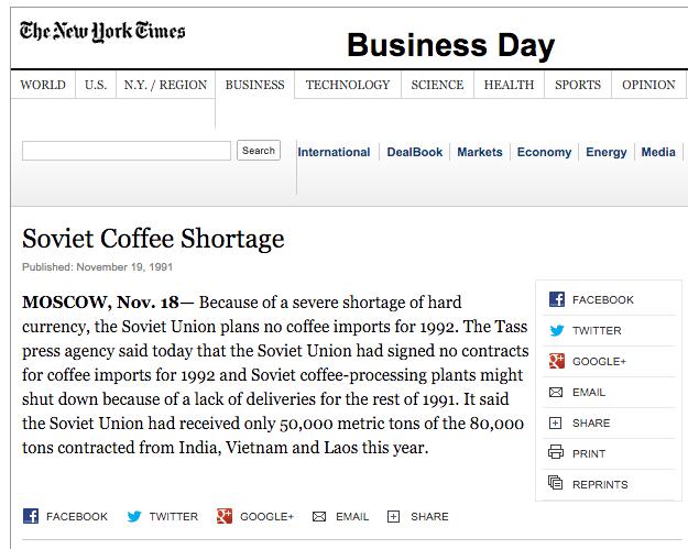 Soviet Coffee Shortage