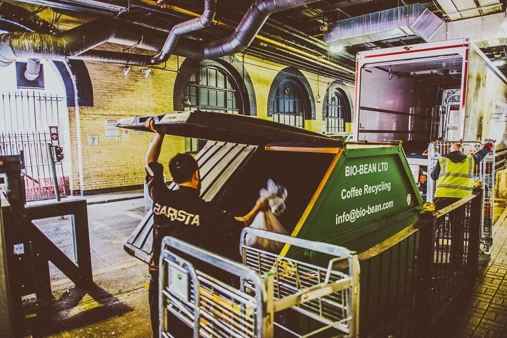The collection of waste from Costa coffee to be recycled by Bio-Bean