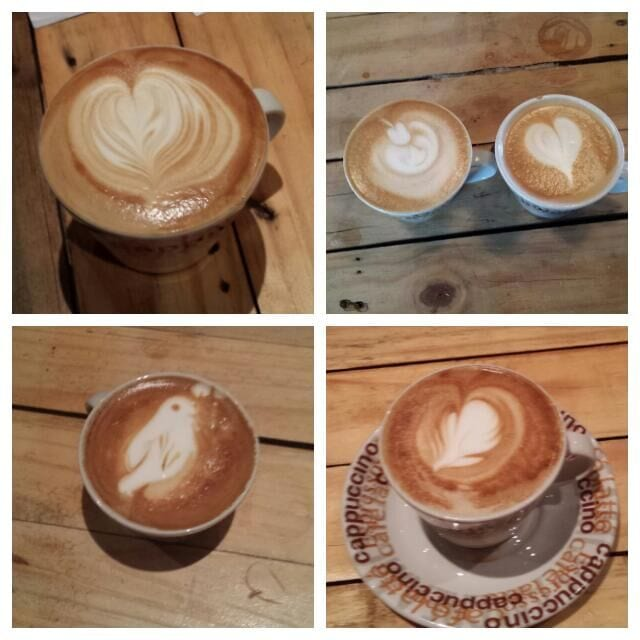 collage of latte art