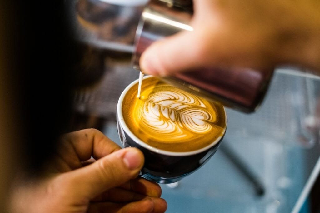 latte art being poured