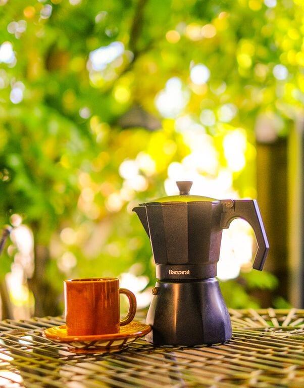 moka pot and coffee