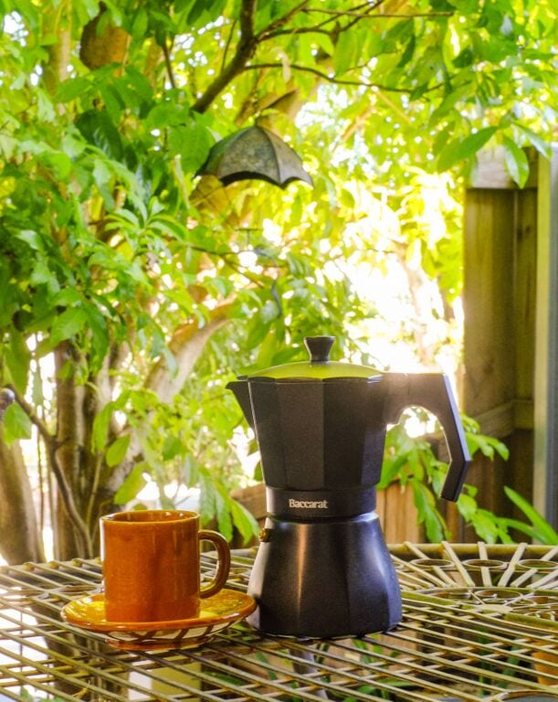 moka pot with coffee
