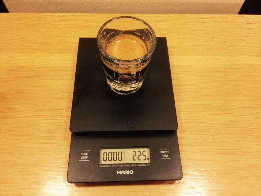 weighing espresso shot