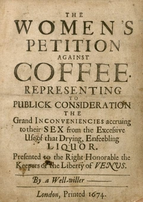 women's petition against coffee