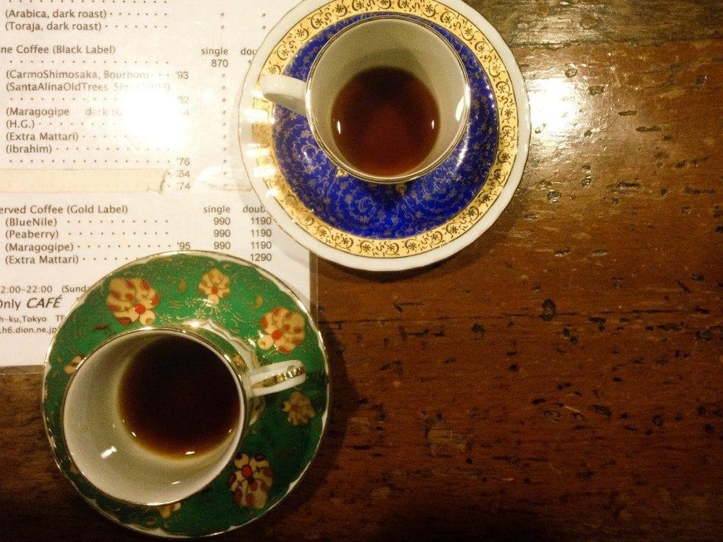Coffee menu at Café de l'Ambre