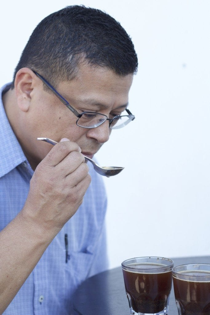 Jorge De Leon cupping coffee
