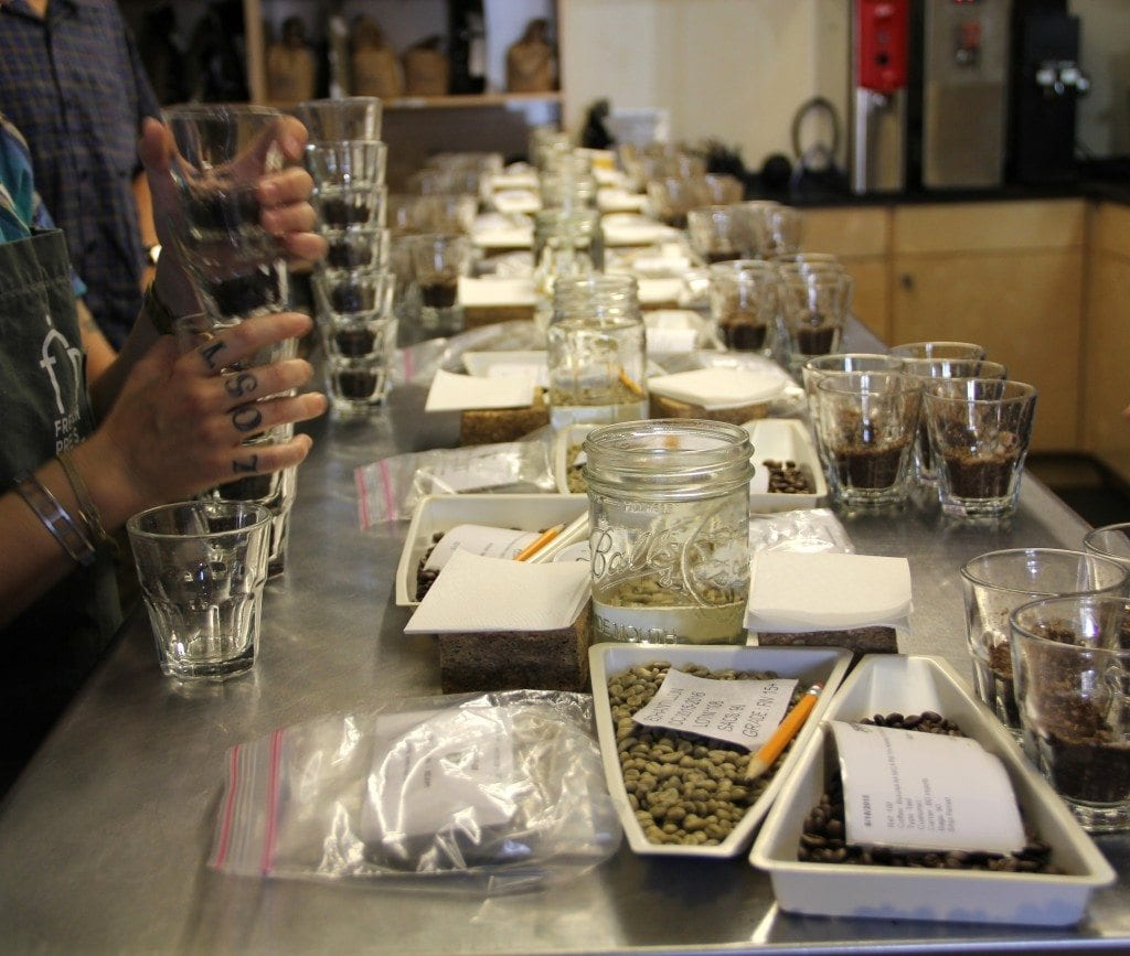 cupping coffee at zephyr coffee
