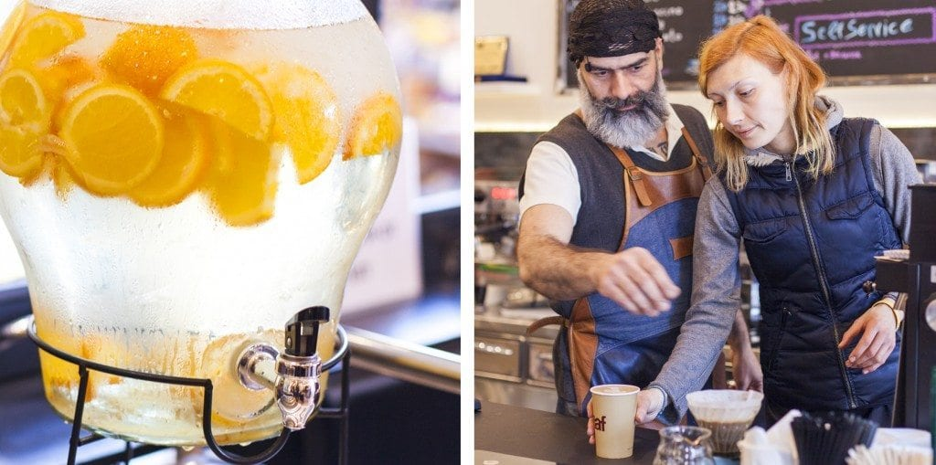 lemon infused water and serving coffee