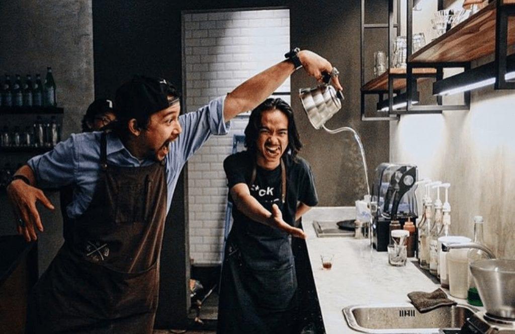 baristas having fun at work