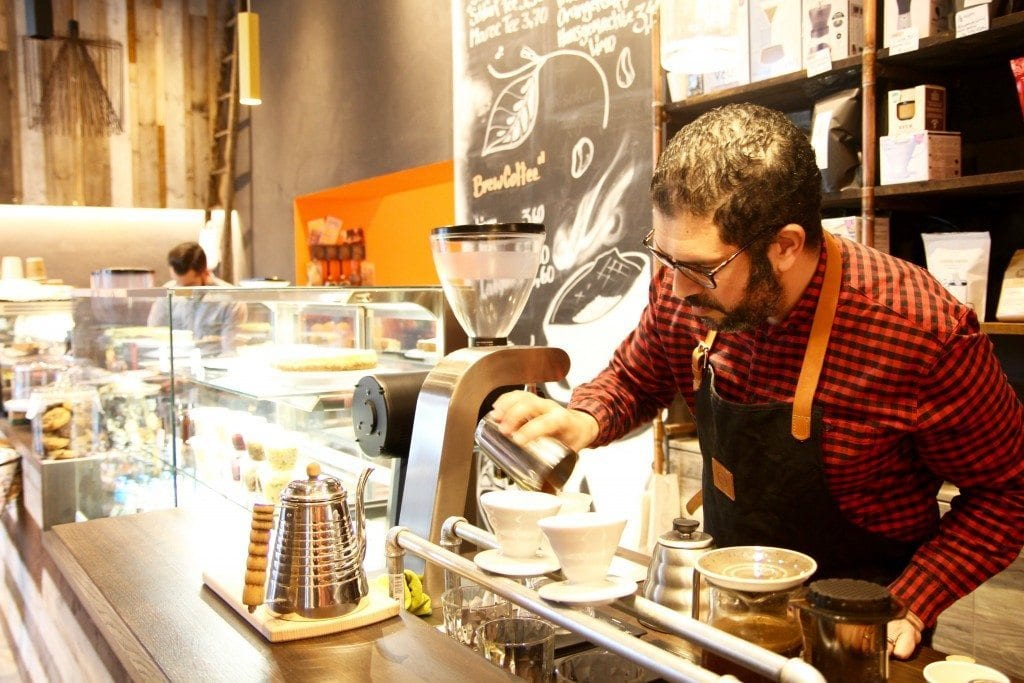 barista preparing a pour over