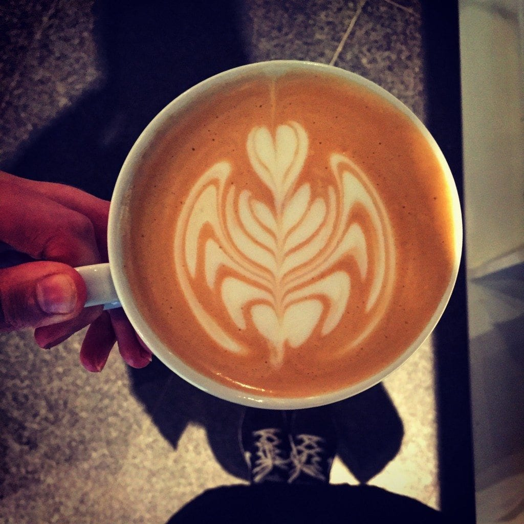 coffee cup with latte art