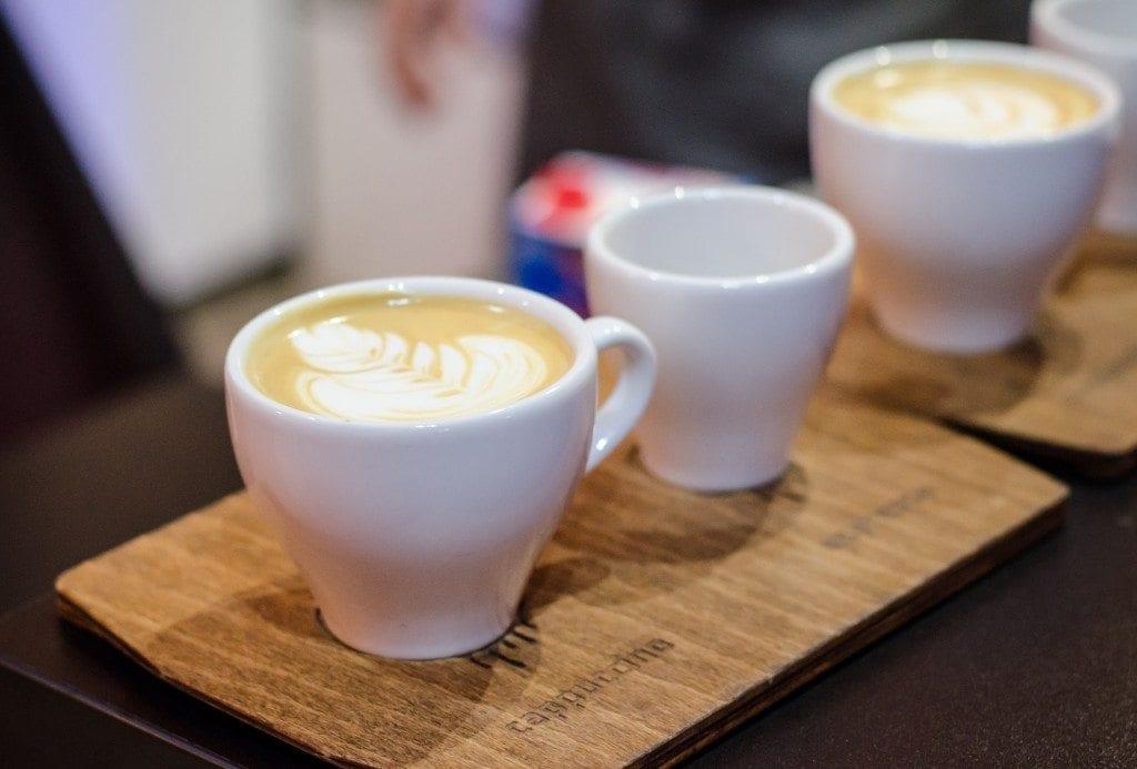 coffee flight, cappucino and espresso