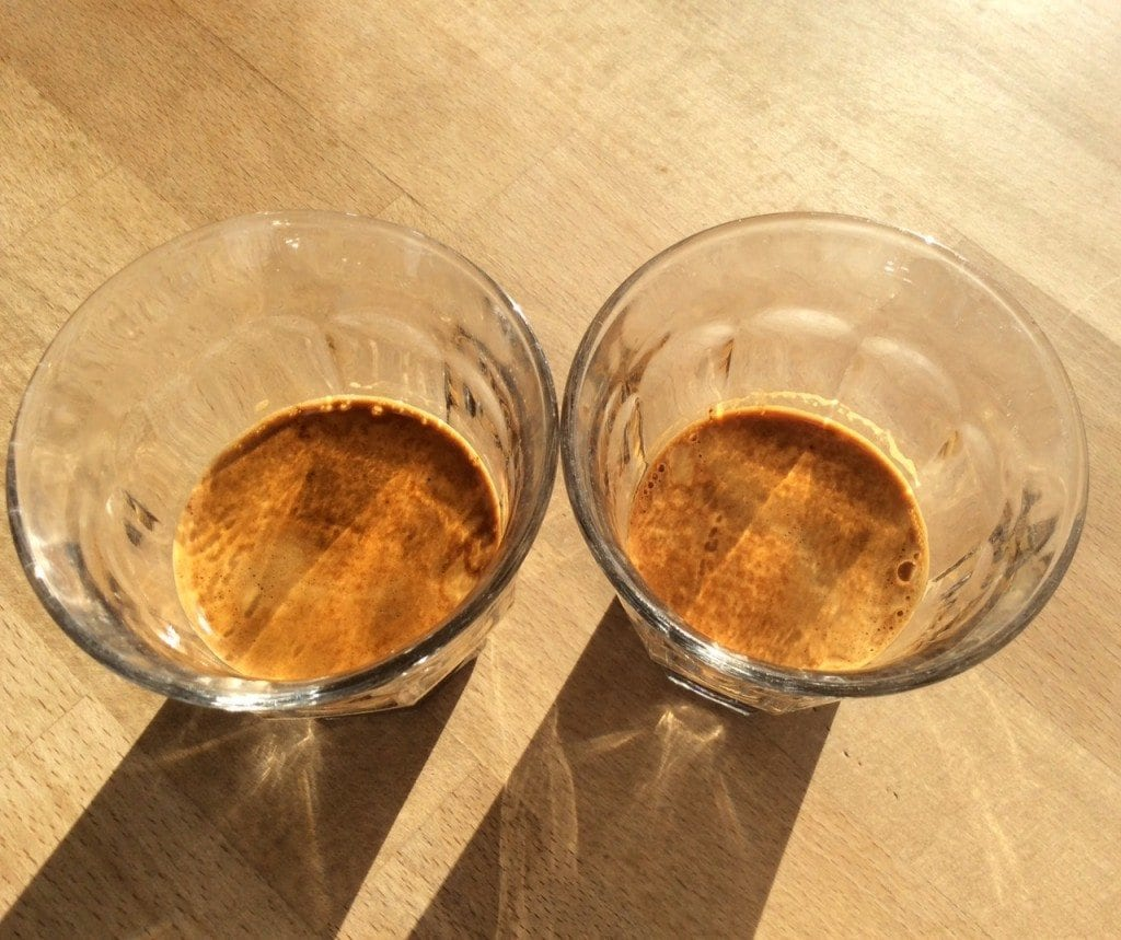 comparing crema of two espressos