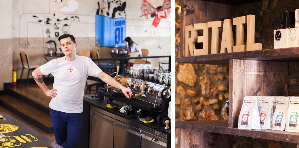 barista behind the coffee machine