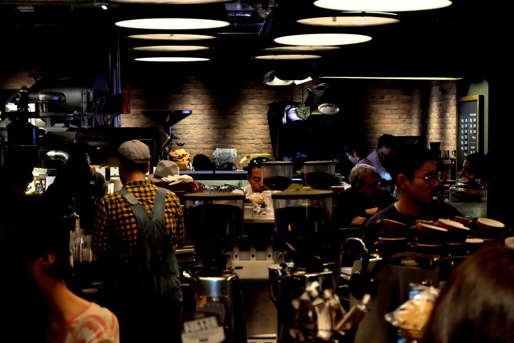 baristas working at the roastery coffee shop japan